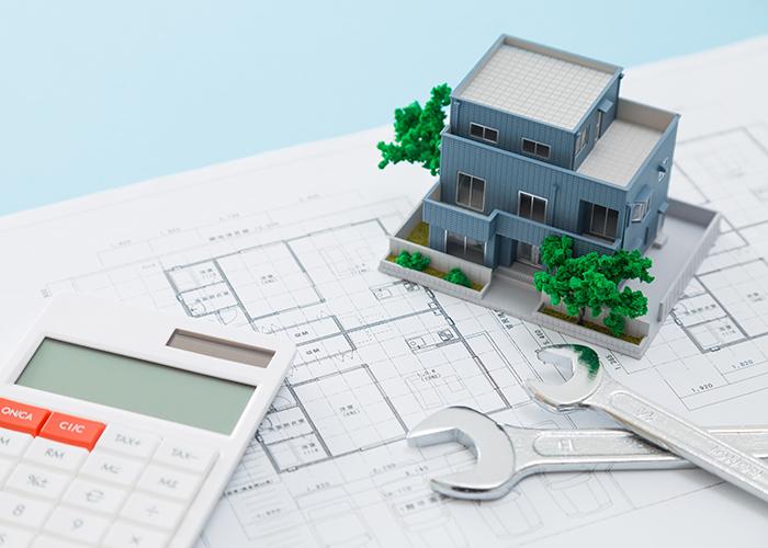 平面図と模型と電卓